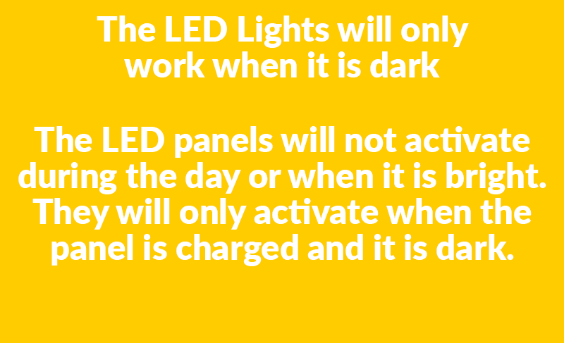 Led Lights note that reads 'The LED panels will not activate during the day or when it is bright. They will only activate when the panel is charged and it is dark.'