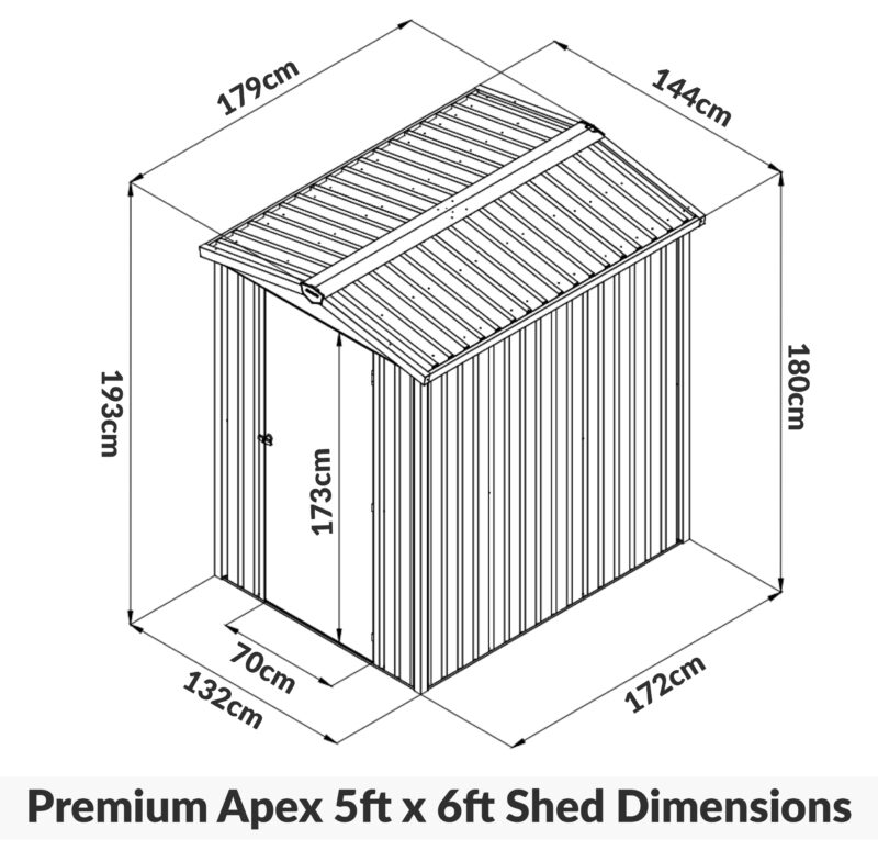 Premium Shed 5ft x 6ft Shed Dimensions