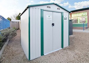 A white Steel Garden Shed