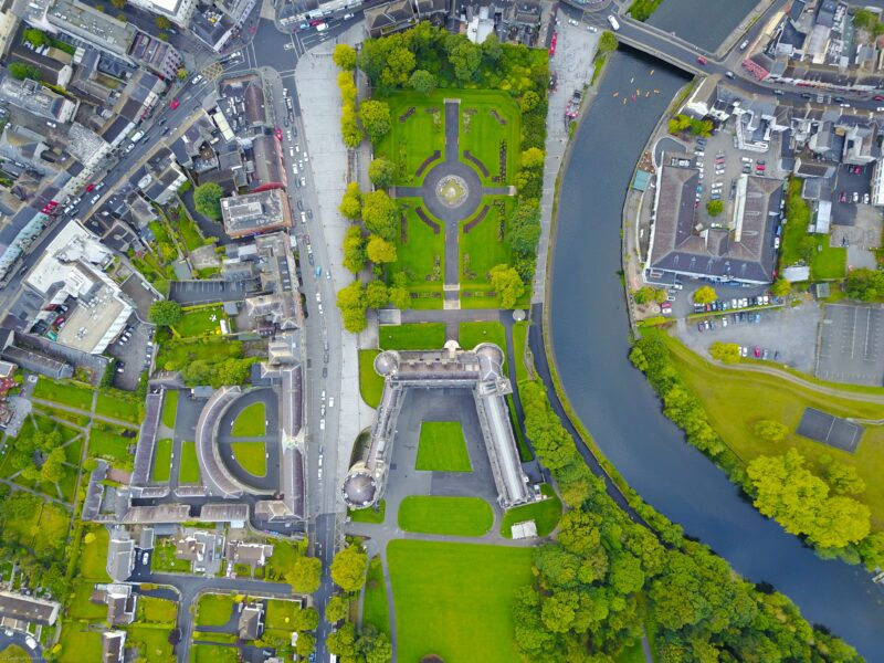 Garden Sheds Kilkenny: An aerial, overhead view of Kilkenny Castle by photographer Kevin B Leigh
