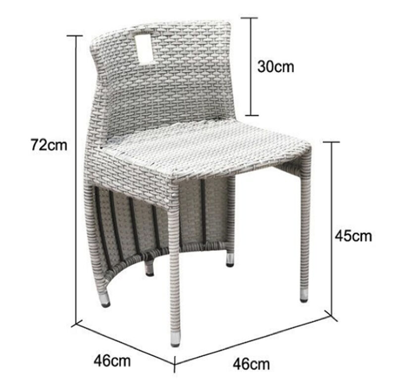 The balcony chair from the balcony table and chairs set against a white background with the dimesnions overlaid. It is 72cm tall, 46cm wide and the seat is 45cm off the floor.