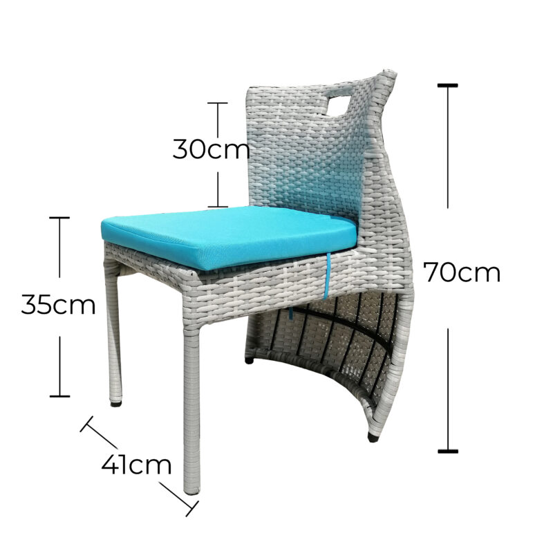 The smaller of the two chairs with the dimensions overlaid onto them. It is 2cm smaller and 5cm narrower