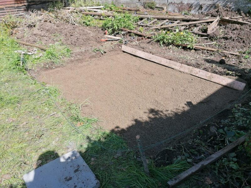 The smoothed out gravel, ready for the Laying a slab base