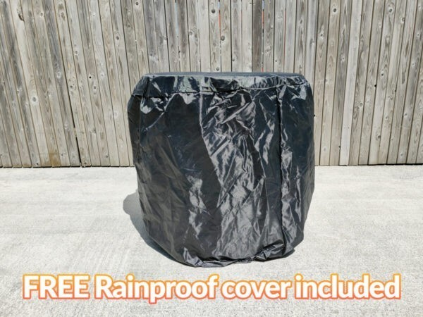 The black Raincover for the fold-in table and chairs set. It reads 'FREE rainproof cover included'