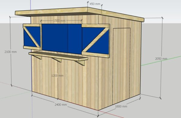 A graphic of the The Tolka Garden Bar, showing the front and side elevation