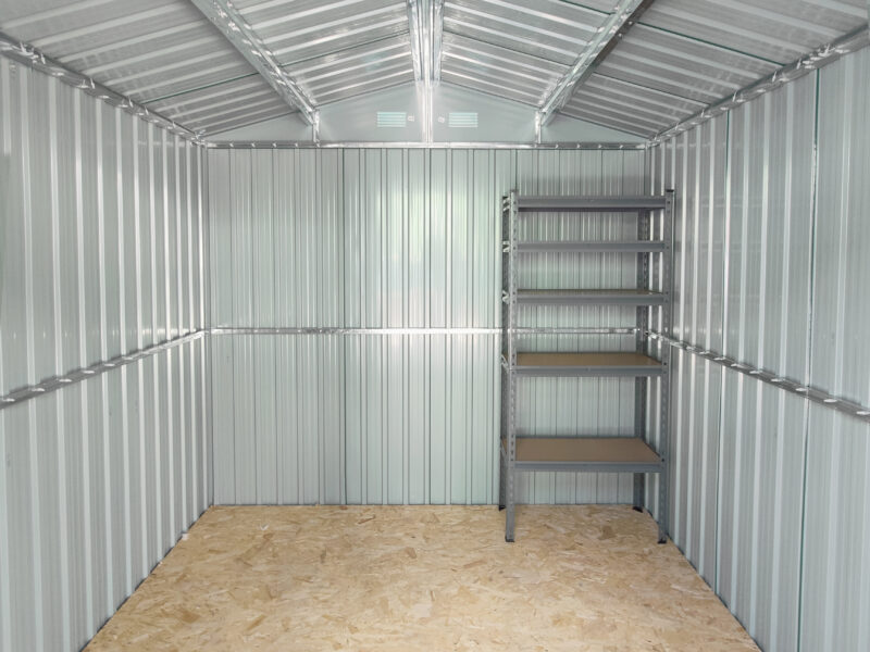 The small shelving unit inside the 7.5ft x 7.5ft Steel Shed
