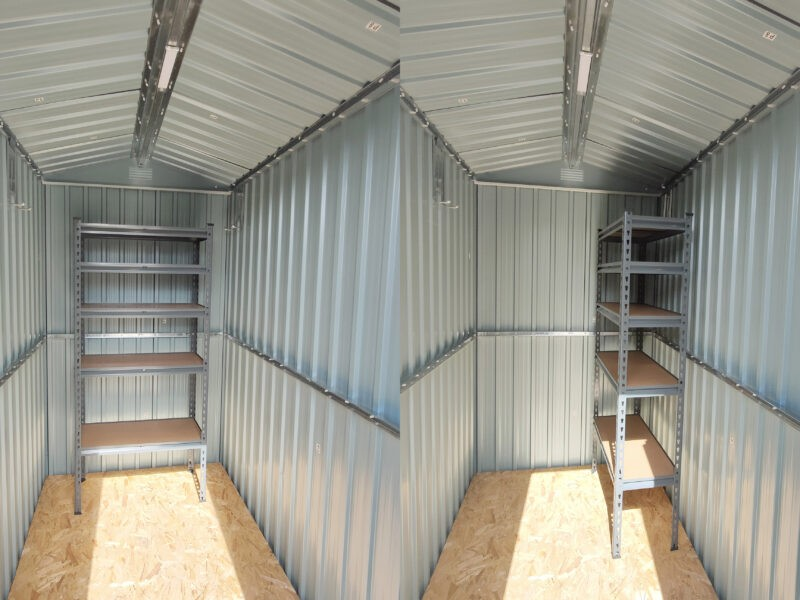 A diptych showing the small shelving unit in the 4x6 shed in two different positions. It takes up almost the entire back wall when placed wide and just under half when placed deep.