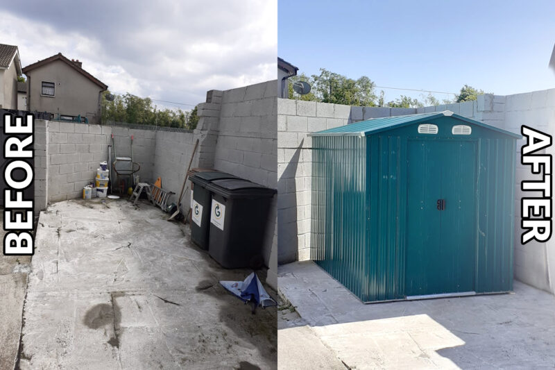 A before and after image of one of our Steel Sheds Offaly. The before picture has an empty garden space. The after side has a steel shed in offaly displayed.