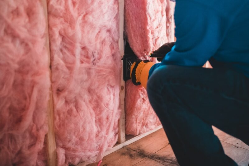 Showing the insulating process in action. This will help avoid condensation in steel sheds. The photo belongs to Erik Mclean