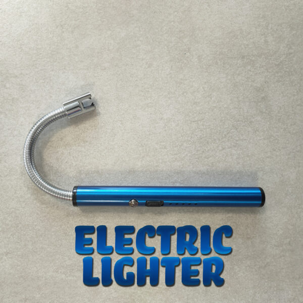 An electric blue, metal electric lighter, with the head bent. It is sitting on a mottled grey tile and the words 'Electric Lighter' are written underneath it