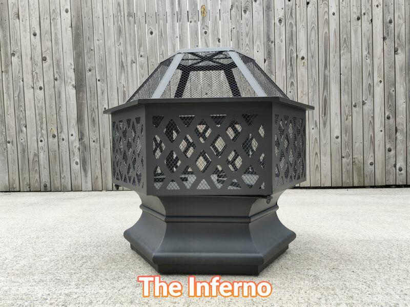 The inferno fire pit as seen face on. It is a small, hexagonal firepit with slanted, cross hatched support bars.