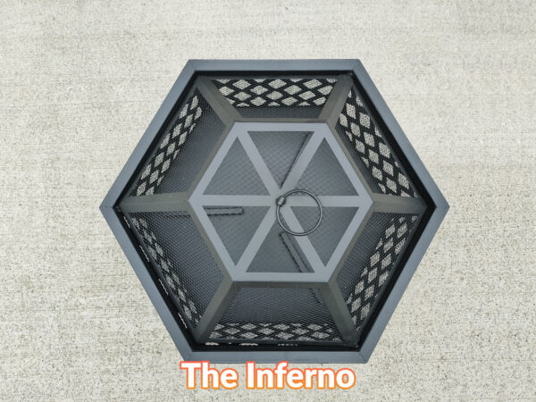 The inferno fire pit as seen from above. It's entirely hexagonal and matte black in style