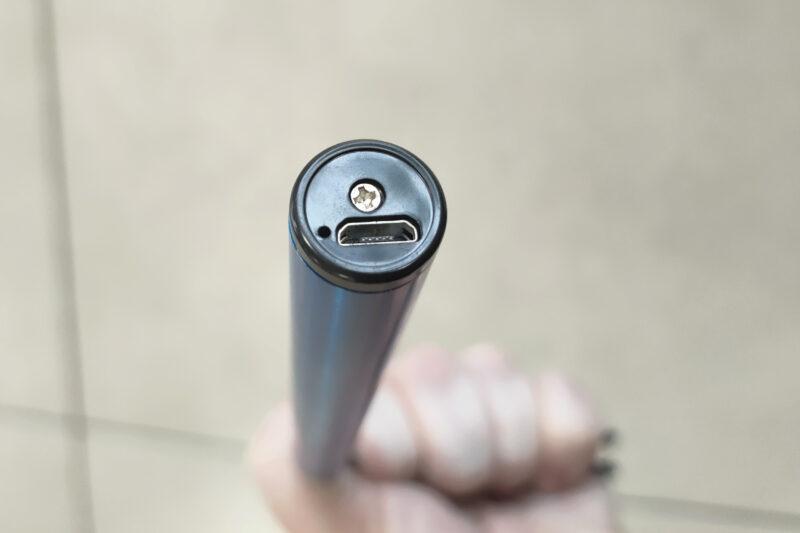 The USB recharging port detail on the bottom of the lighter