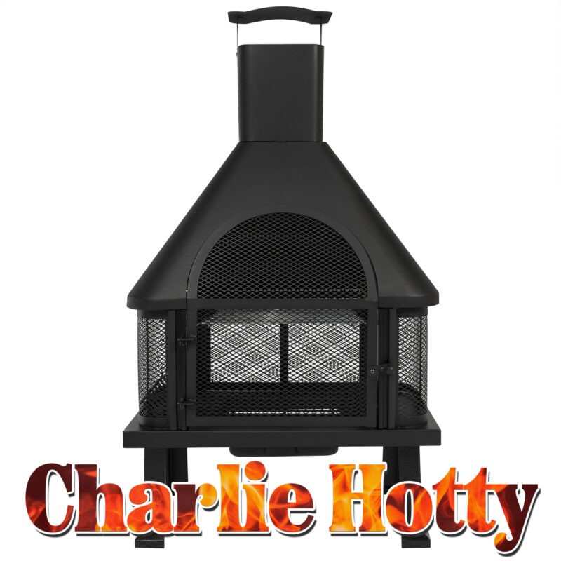 The Charlie Hotty Fire Pit from Sheds Direct Ireland. It is matte-black in colour and it has 4 legs that raise up about 12 inches. The base of the fire fit sits on top. It is square in shape, with mesh wire the whole way around. On top of this, is a peaked roof where a square chimney sits.