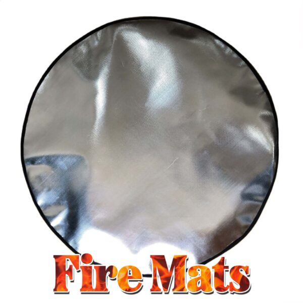 Fire Mats for Firepits - A picture of a large, circular, shiny firemat against a white backdrop. It has a black lined edge and great addition for fire pit safety.