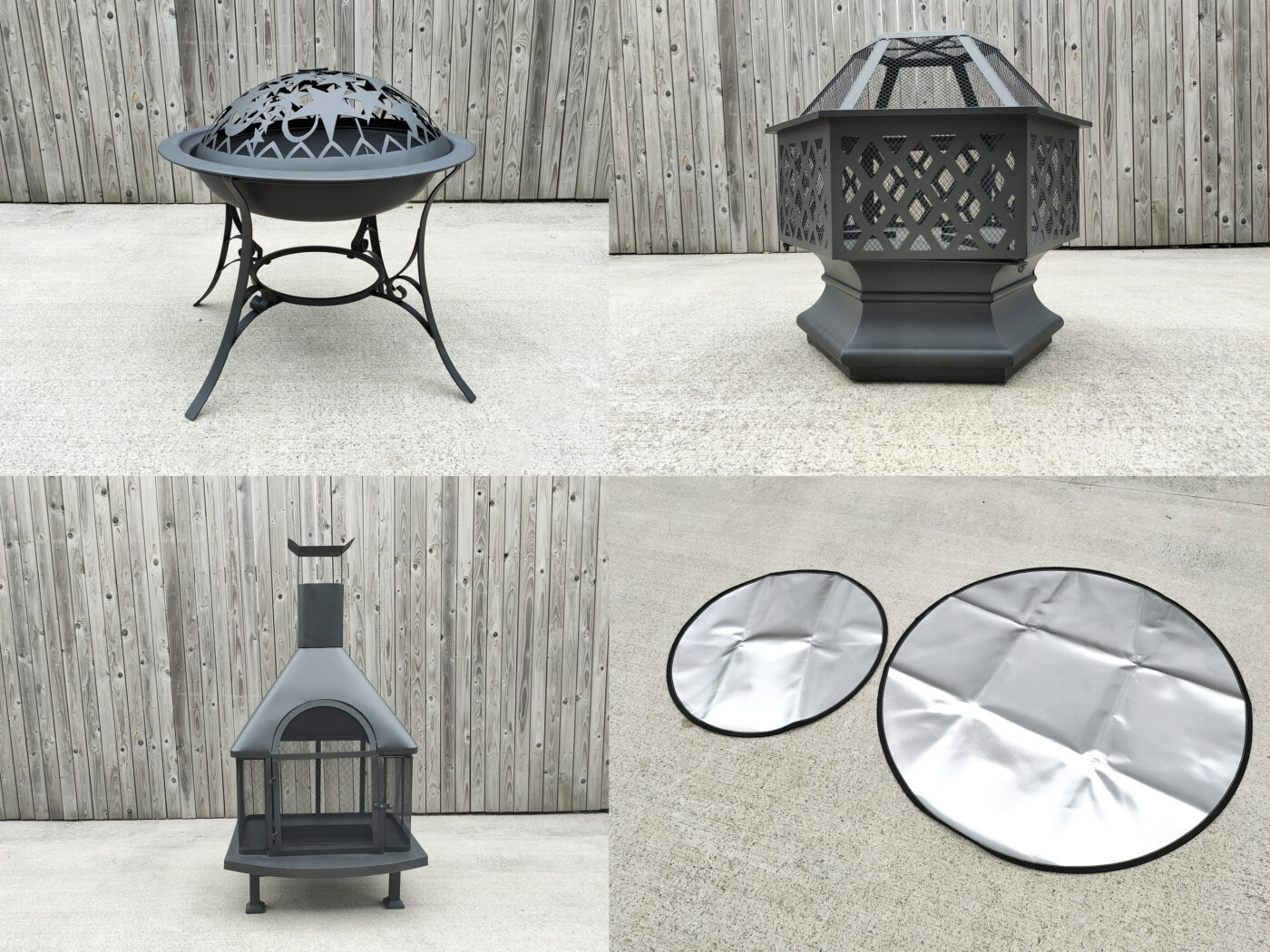 Fire Pits from Sheds Direct Ireland. The image shows the three different styles of fire pits as well as the fire mats