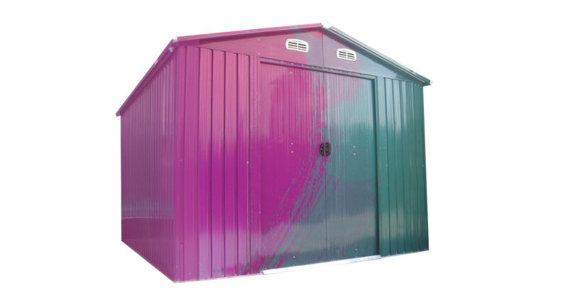 Painting a steel shed: A green colossus shed from sheds direct Ireland that is halfway between being painted a bright pink.
