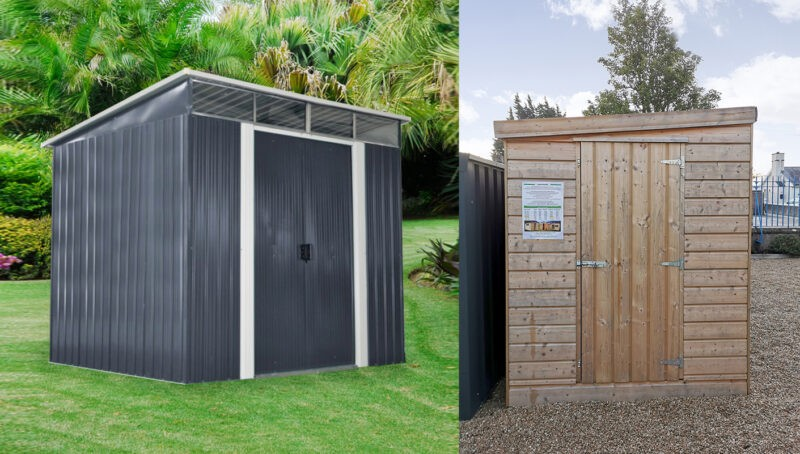 A grey steel pent shed on a grassy hill with a sloped pent roof visible, next to a wooden 'cabin-style' shed which also has a pent roof. The wooden sheds' pent roof slopes from side to side rather than from front to back, however