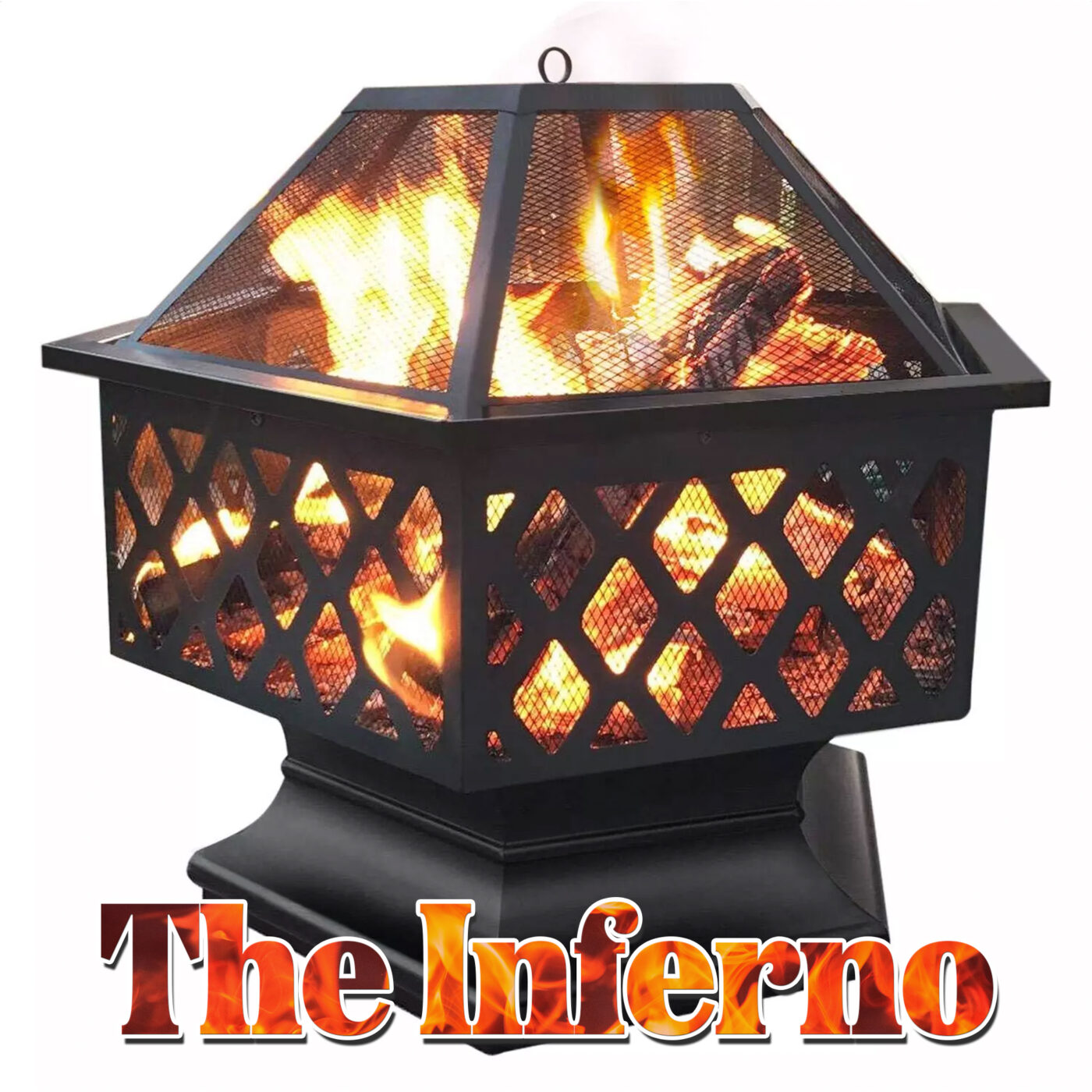 The Inferno firepits against a white background. It is a black, hexagonal firepit with wide mesh sides and thin mesh top pieces. There is a sold, heavy-looking base too. It reads 'the inferno' in flame-styled writing on the image too.