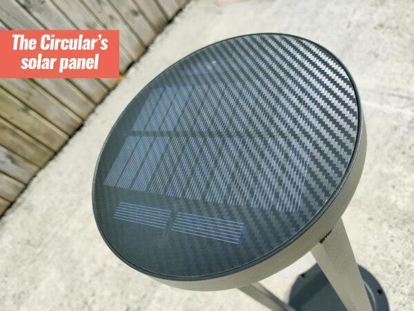 The circular LED Garden Light solar panel detail