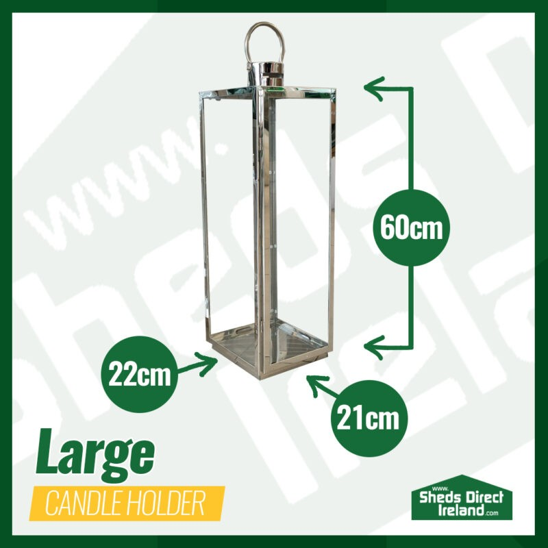 The Large Lantern-Style candle holder with dimensions laid out beside it. It is 60cm tall, 22cm deep and 21cm wide