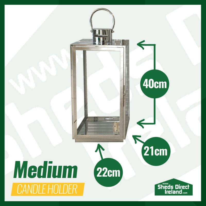 The Medium Lantern-Style candle holder with dimensions laid out beside it. It is 40cm tall, 22cm deep and 21cm wide
