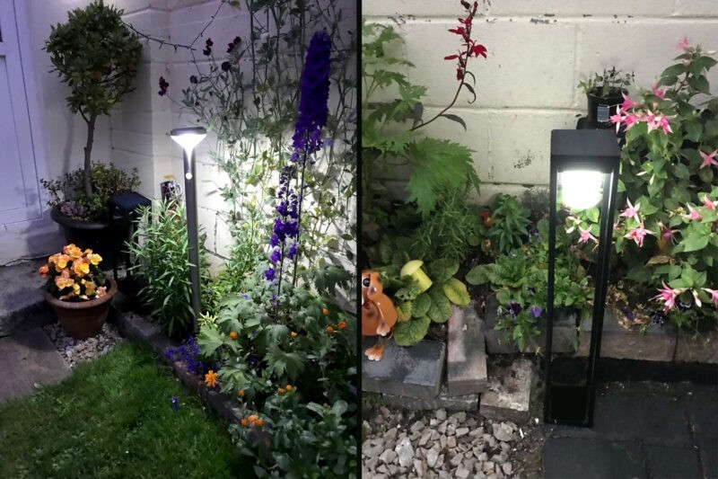 two photos side by side showing the range of garden lights available