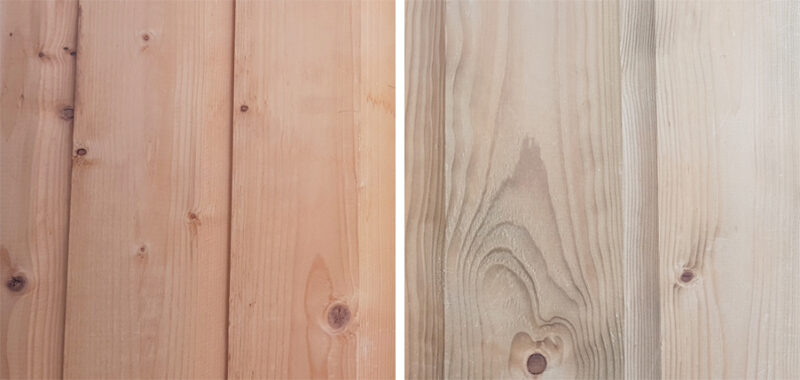 Two pieces of wood side by side. The one on the left is not pressure treated and it's condiserably more saturated in colour, it is a golden shade of brown. The one on the right is treated and it has faded quite significantly.
