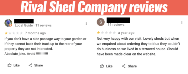 Two Google Reviews from a rival shed company. They are side-by-side which show two uphappy customers who are annoyed that a shed can't be delivered to a terraced house