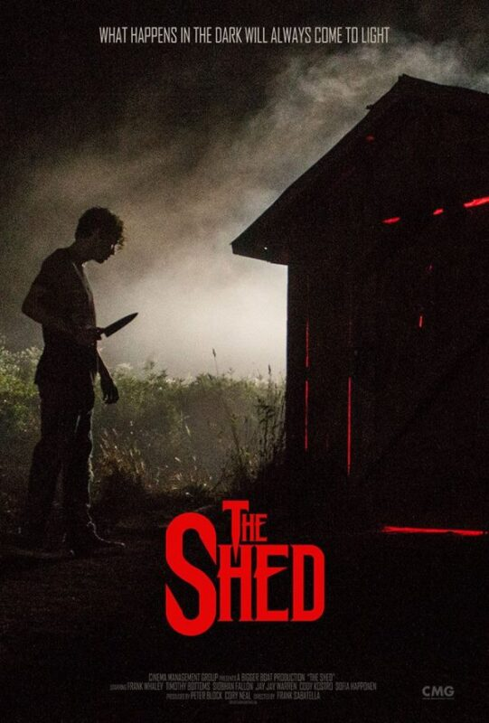 The Shed: The Movie poster. It has the silhouette of a man on the left and he is brandishing a knife. To the right of the frame there is a shed which is dark, but which has red glowing lights piercing out above and below the door. It is cloudy in the background and very ominous.