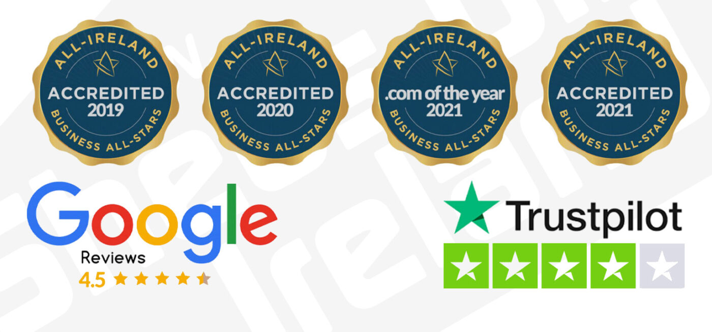 A banner image showing the Sheds Direct Ireland logo, the 4 awards from the business all stars, the 4.5 star google reviews ranking and a 4.1 star ranking from trustpilot.